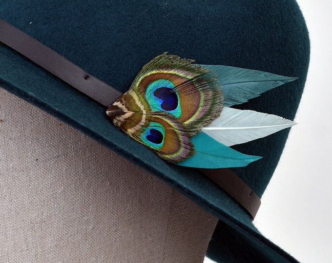 Teal and Green Peacock Feather Lapel Pin / Hat Pin No.99