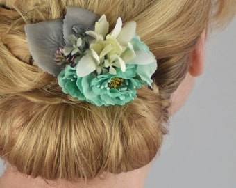 Silk Flower Hair Clip in Mint Green, Ivory and Grey