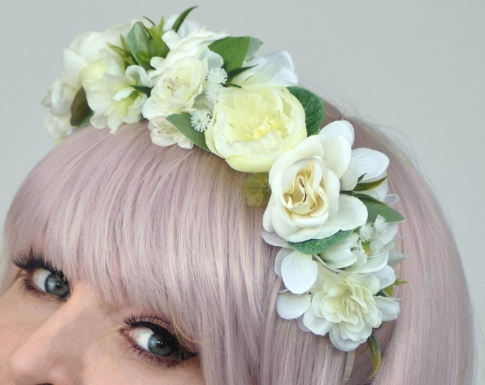Off White Blossom Flower Headband