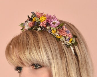 Spring Meadow Dried Flower Headband in Pink, Purple and Yellow