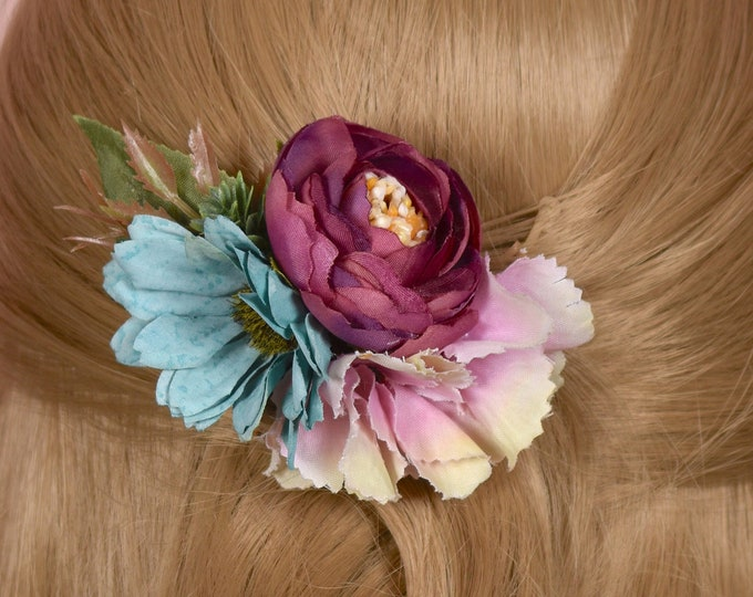 Silk Flower Hair Clip in Pink, Blue and Burgundy
