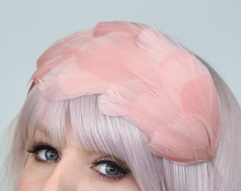 Wide Feather Headband in Vintage Blush Pink