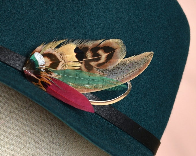 Pheasant Feather Hat Pin in Burgundy and Green