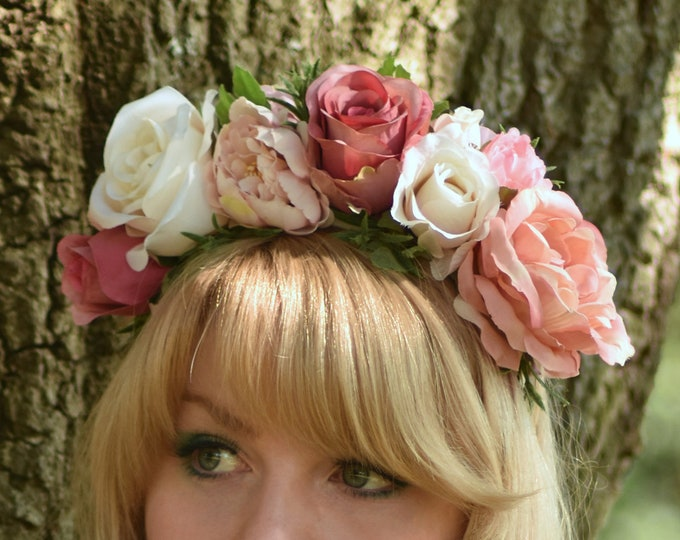 Rose Flower Crown Headpiece in Vintage Pink, Blush and Ivory
