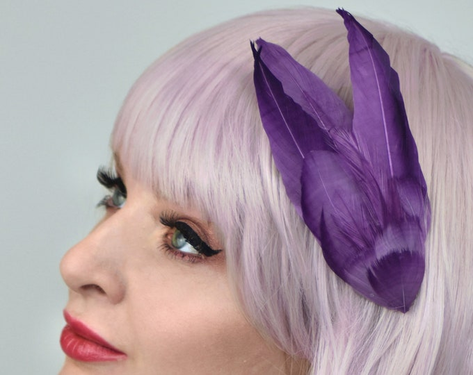 Feather Hair Clip in Ombre Ultraviolet Purple