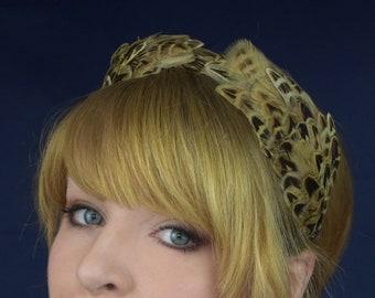 Pheasant Feather Double Headband | Pheasant Feather Crown | Pheasant Feather Headpiece | Pheasant Feather Fascinator | Wedding Fascinator