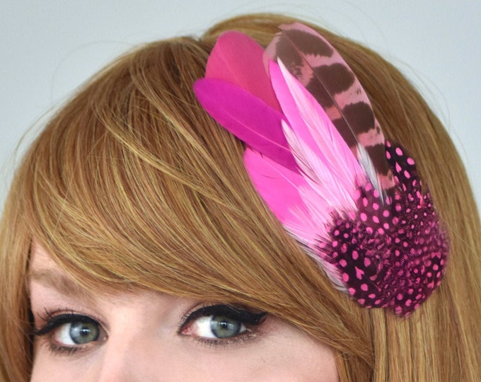 Pink Feather Hair Clip Fascinator