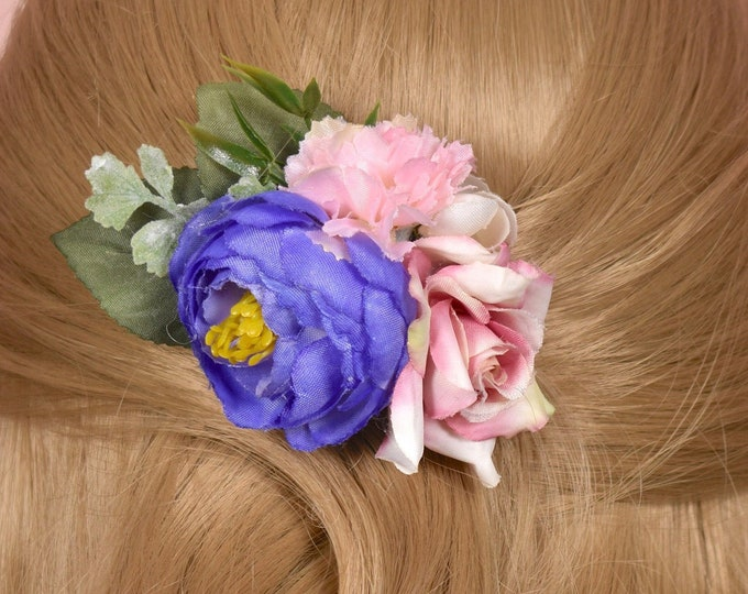 Rose and Ranunculus Flower Hair Clip in Pinks and Lilac