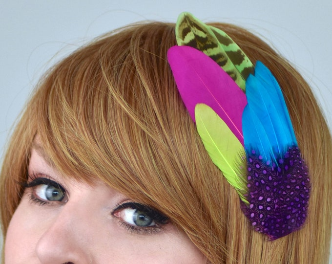 Tropical Bright Feather Hair Clip in Purple, Blue and Pink