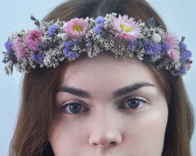 Dried Flower Halo Crown Hair Wreath in Off White, Pink and Lavender