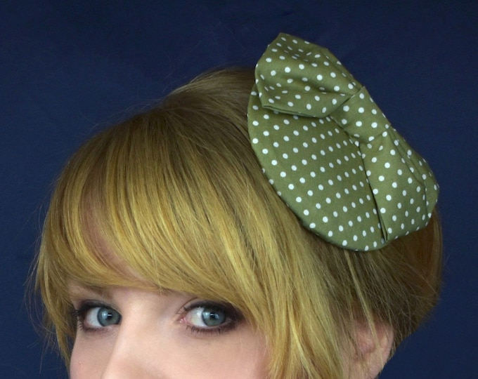 Retro 1950s Style Bow Fascinator Polka Dot in Olive Green or Mauve Purple