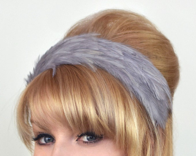 Feather Headband in Silver Grey