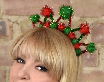Tinsel Crown Headband in Green and Red
