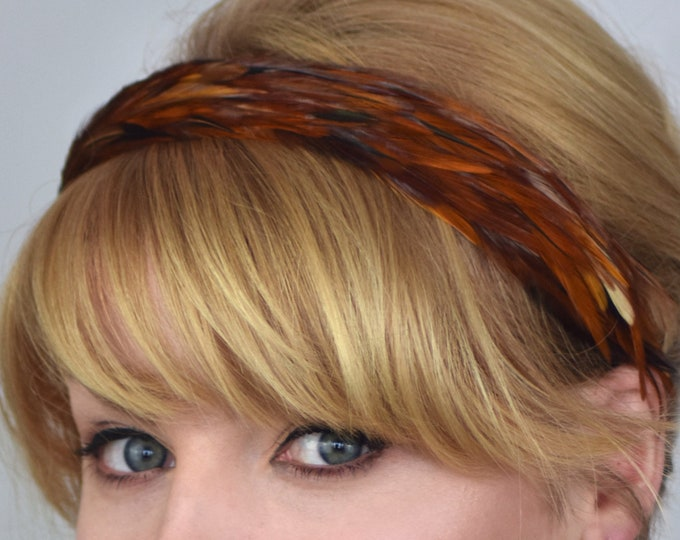 Feather Headband in Natural Copper Feathers
