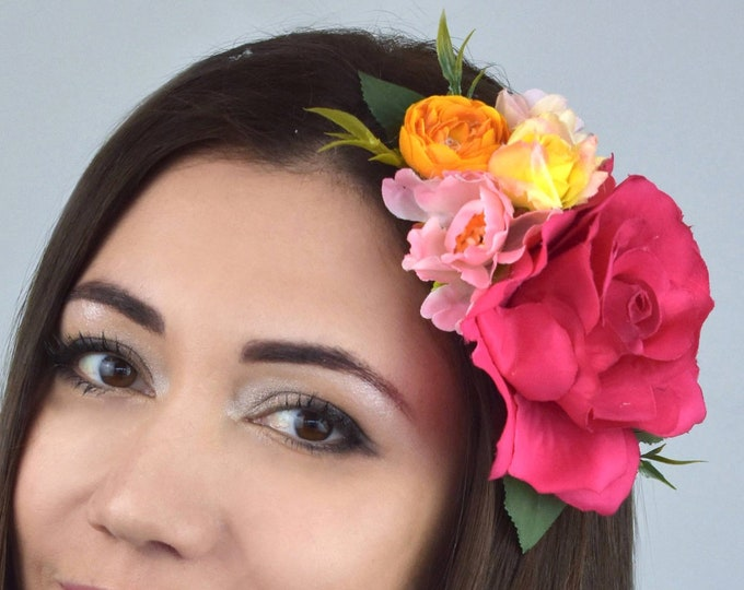 Bright Pink, Orange and Yellow Vintage Style Rose Flower Hair Clip