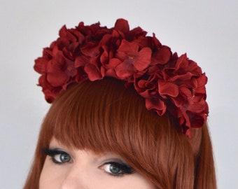 Red Hydrangea Headband