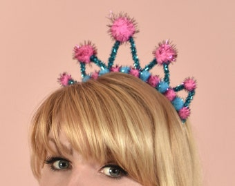 Tinsel Crown Headband in Pink and Turquoise Blue