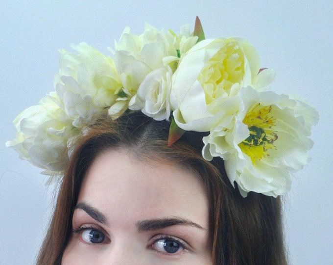 Eden - Ivory Bridal Flower Crown Headpiece