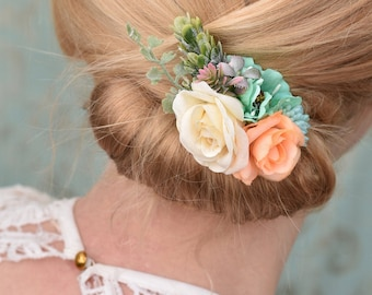Rose and Anemone Hair Clip in Peach, Mint and Green