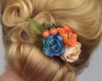 Silk Flower Hair Clip in Orange and Blue Roses