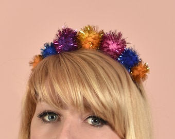 Tinsel Pom Pom Crown Headband in Pink, Blue and Gold