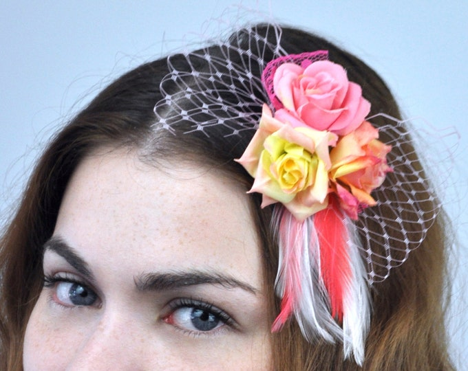 Mini Flower and Feather Hair Clip Fascinator in Pink, Peach and Yellow