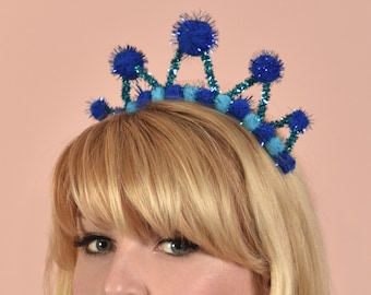 Tinsel Crown Headband in Blue