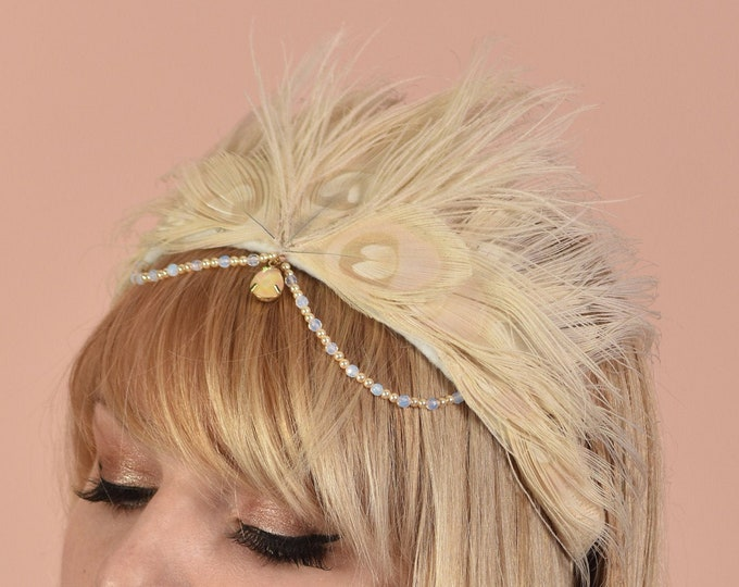 Ivory Peacock Feather Crown with Opals and Swarovski Glass Pearls Festival Headpiece