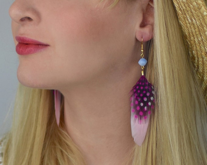 Pink Feather Earrings with Polka Dots