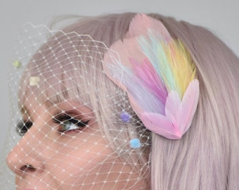 Feather Hair Clip in Pastel Rainbow Colours