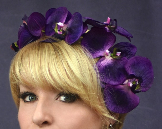 Purple Orchid Floral Headpiece