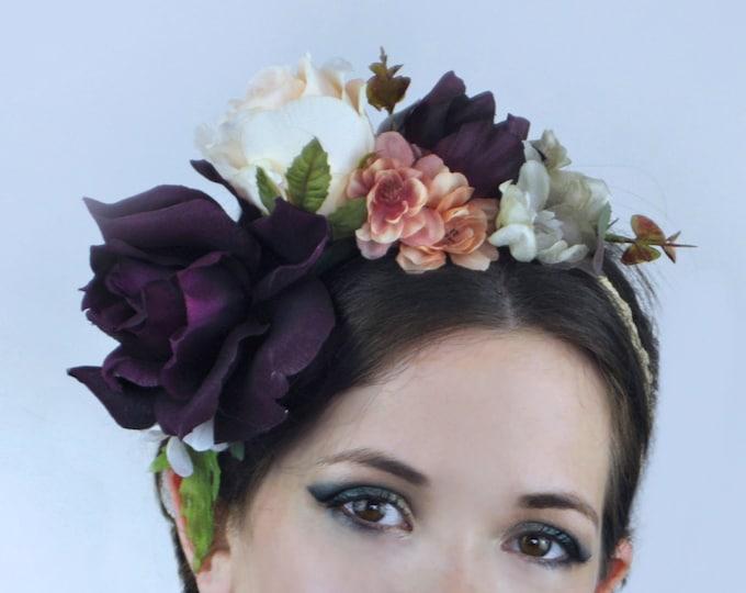 Plum Bridal Flower Crown Garland