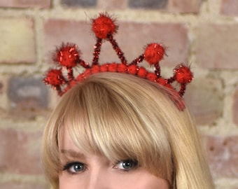 Tinsel Crown Headband in Red