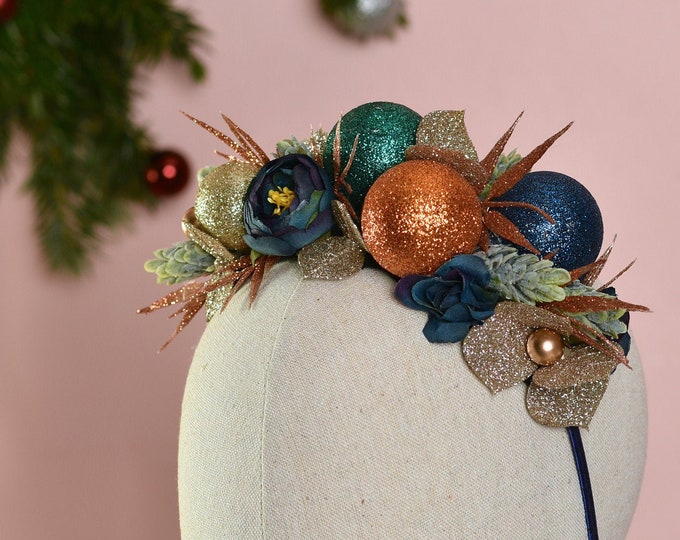 Festive Bauble Christmas Headband in Blue, Teal and Gold