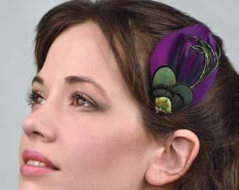 Plum Purple , Gold and Green Feather Hair Clip Fascinator