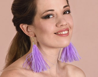 Lilac Ostrich Feather Tassel Earrings
