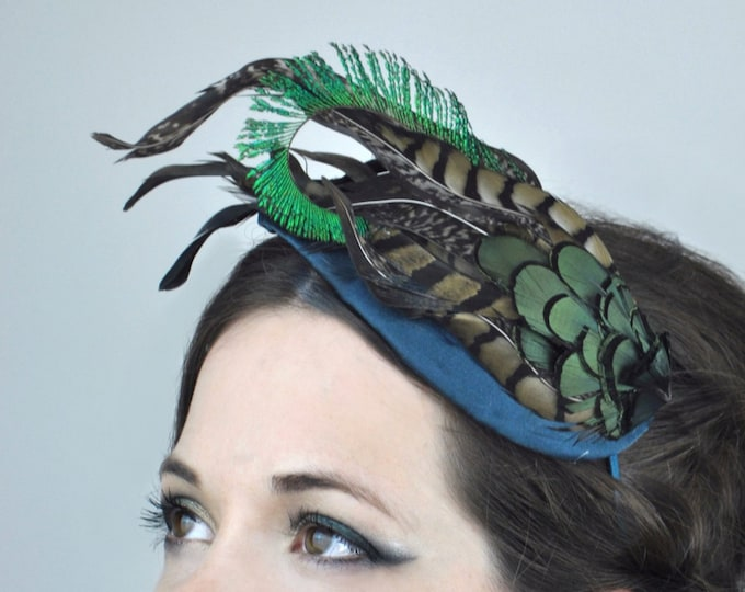 Teal, Green and Black Feather Hat