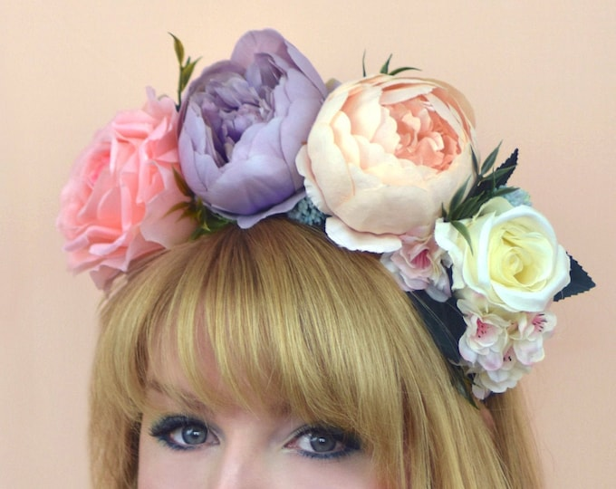 Cora -  Pastel Flower Crown Headband in Pink, Peach and Lilac