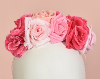 Pink Rose Flower Crown Headpiece