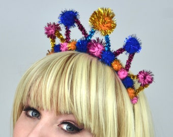 Tinsel Crown Headband in Pink, Gold  and Blue