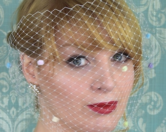 Ivory Bandeau Birdcage Net Veil with Pastel Chenille Spots