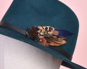Navy Blue and Copper Pheasant Feather Lapel Pin / Hat Pin No.167