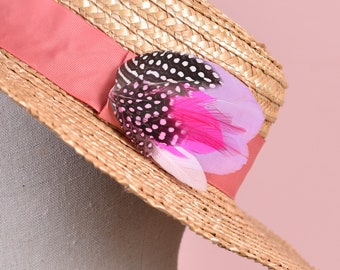 Clip on Feather Hat Pin / Lapel Pin in Polka Dot Pastel Pink and Lilac Small No.127