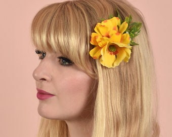 Silk Flower Hair Clip in Yellow Cosmos