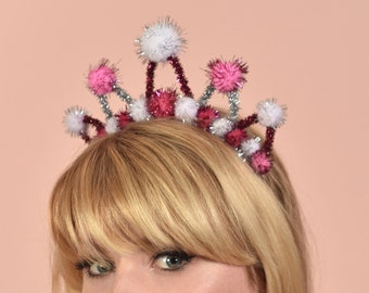 Tinsel Crown Headband in Pink, White and Silver