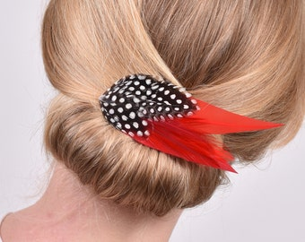 Feather Hair Clip in Red and Spotted Guinea Fowl