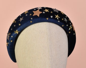 Celestial Padded Velvet Sequin Headband with Gold and Silver Stars in Navy Blue or Dusky Pink