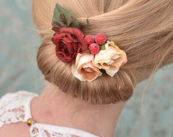 Silk Flower Hair Clip in Red and Peach with Berries