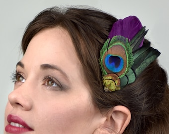 Plum Purple and Peacock Feather Hair Clip Fascinator