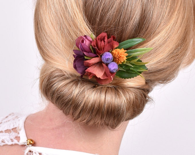 Rose Flower Hair Clip in Plum, Burgundy and Gold
